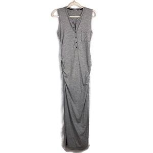ATHLETA gray & white striped maxi dress size S